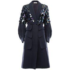 ブルーコットンコート ROME COAT WITH IRIDESCENT SEQUINS DRIES VAN NOTEN ドリス ヴァン... ❤ liked on Polyvore featuring outerwear, coats, sequin coat, dries van noten coat, blue coat and dries van noten