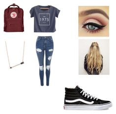 """""""back school"""" by alexisnagrampa ❤ liked on Polyvore featuring Topshop, Vans, Sydney Evan and Fjällräven"""