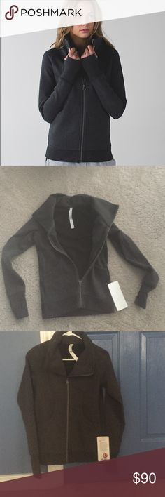 Lululemon Cozy Cuddle Up Jacket Black Special edition jacket with a high collar, made with thick cotton fleece. Hip length. Has media pocket with chord exit for your tunes. lululemon athletica Jackets & Coats