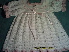 Baby Crochet | Crocheted Baby Layette Set - Dress, Booties, Bonnet, & Bib - Submit an ...