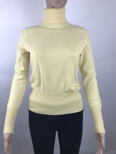 Griffin Cashmere Turtleneck Women's  Sweater Petite Size PM Yellow  #Griffin #Turtleneck #Sweater #cashmere #fashion #womensfashion #cashmeresweater #yellowsweater #forsale #selling #deals #discounts #buyitnow #topratedseller