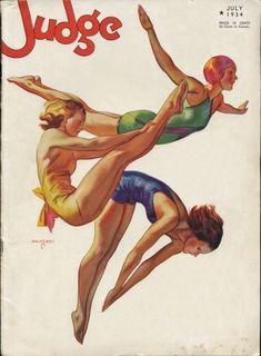John Holmgren, illustration for Judge, July 1934 Illustrations Vintage, Illustrations Posters, Illustration Art, Vintage Images, Vintage Posters, Pop Art, Art Et Architecture, Vintage Swim, Pin Up Art