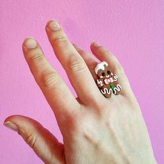 gingerbread man ring christmas ring kawaii polymer clay charms miniature food jewelry polymer clay food ring christmas jewelry xmas ring by CMYKlays on Etsy https://www.etsy.com/listing/482373719/gingerbread-man-ring-christmas-ring