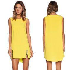Fashion Ladies Women Yellow Round Neck Sleeveless Zipper Dress