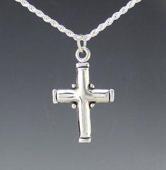 Sterling Silver Cross/ Simple Silver Cross/ Boy's Cross/ Gift for Boy/ One of a Kind Cross/ Easter Cross/ Plain Silver Cross/ Cross Pendant Sterling Silver Cross Pendant, Silver Pendants, Denim And Diamonds, Mens Crosses, Silver Man, Diamond Jewelry, Easter Cross, Artisan Jewelry, Simple