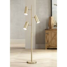 Canasta Modern Floor Lamp 3 Light Tree Satin Brass Adjustable Shade for Living Room Reading Bedroom Office - Possini Euro Design Tree Floor Lamp, Arc Floor Lamps, Contemporary Floor Lamps, Modern Floor Lamps, Contemporary Design, Wall Mount Reading Lamp, Torchiere Floor Lamp, Brass Lamp, Bedroom Lamps
