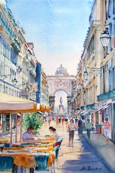 Cityscapes - Watercolour Painter Great Paintings, Beautiful Paintings, Landscape Paintings, Watercolor Sketch, Watercolor Background, Watercolor Paintings, Painting Corner, Conceptual Drawing, Oil Painting Supplies