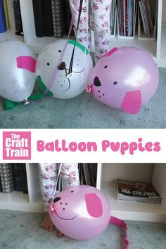 Cute balloon puppy craft. This is almost as good as a real puppy! Name it, take it for walks and make it do tricks. A simple and engaging animal craft idea for kids #animalcrafts #kidscrafts #puppycraft #dog #diytoy #ballooncraft