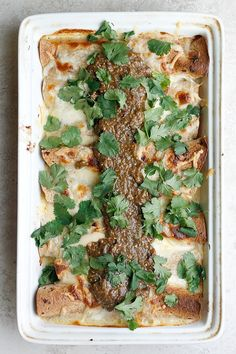 Roasted Tomatillos, Chicken and Cheese Sauce Enchiladas