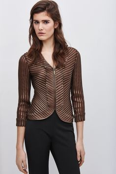 Mesh And Faux Leather Jacket - coats and jackets | Adolfo Dominguez shop online