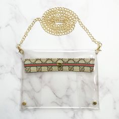 Large Clear Cross Body Purse in Upcycled Brown Webbed GG – Spark*l Apple Sport Band, Clear Tote Bags, Cute Games, Glitter Cups, Gucci Accessories, Day Bag, Chanel Boy Bag, Gold Hardware, Gold Chains