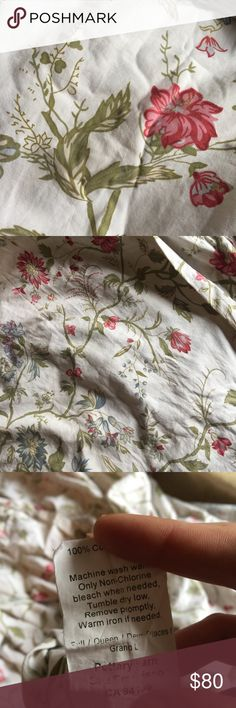 Pottery Barn Duvet bed cover floral print Size queen. Says full queen soo can also fit a king size comforter. I just got it out of my storage so it's wrinkled but still is in really nice condition. I really didn't use it too long because I got a size to big. It's authentic. Cost me a bit. It has a button closure so to can place your comforter blanket inside. Really well made and quality cotton. Pottery Barn Other