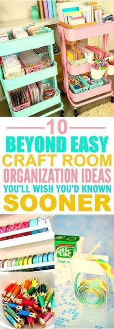 These 10 Clever Craft Room Organization Hacks are THE BEST! I'm so happy I found these AWESOME ideas! Now my craft room will look so good I'm definitely pinning for later!