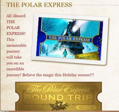 The Polar Express Train Ride-   Bryson City, NC (Nov. 2012) :) Kids can meet Santa & Sip Hot Chocolate while heading to the North Pole.. --->  http://www.gsmr.com/ride-us/first-class/first-class  We even get to enjoy a nice meal on the train.. <3  Really excited about this trip.