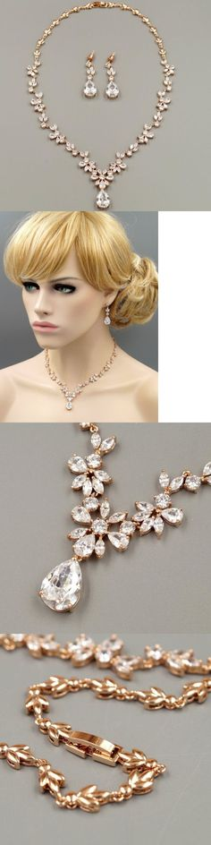 Jewelry Sets 50692: Rose Gold Plated Zirconia Cz Necklace Earrings Bridal Wedding Jewelry Set 00668 -> BUY IT NOW ONLY: $42.99 on eBay!