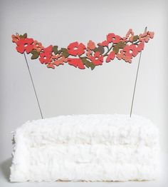 Coral & Orange Flower Garland Cake Topper   Collections Showers and Celebrations   By Madeline Trait   Scoutmob Shoppe   Product Detail
