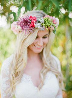 floral halo crown bright colors fun romantic boho bohemian flowers bride bridal wedding