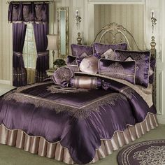 luxury bright purple bedding with purple duvet and purple sets model with purple curtain Purple Home Decor, Master Bedroom, Bedroom Decor, Bedroom Ideas, Purple Bedrooms, Purple Bedding, Bedroom Accessories, Beautiful Bedrooms, Home Interior