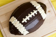 Since my birthday usually falls really close to football party time... I should just bite the bullet and double task! Chocolate cake in the shape of a football:)