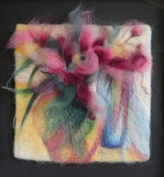 """""""Condensing translucence""""-Needle felted flower-scape.By Mary Forbes"""