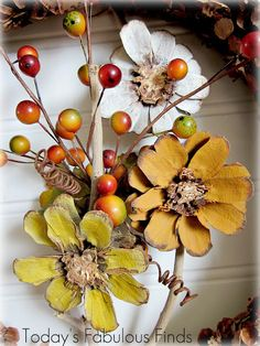 Today's Fabulous Finds: Fall {Pine Cone Flower} Wreath Tutorial
