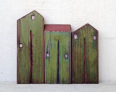 "Set of 3 recycled wood ""old look"" houses , painted with acrylic colors…"