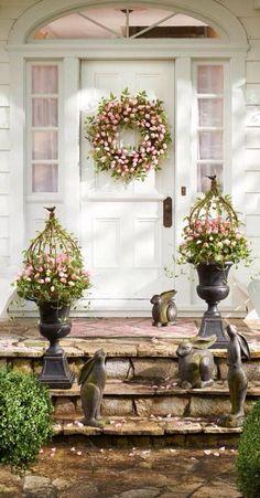 Welcome Spring!! Spring Home, Spring Garden, Easter Garden, Spring Plants, Seasonal Decor, Holiday Decor, Tulip Wreath, Deco Floral, Easter Holidays