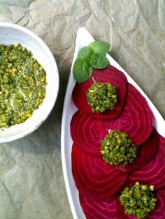 Passionately Raw! - Raw Beet Carpaccio with Mint Pistachio Pesto