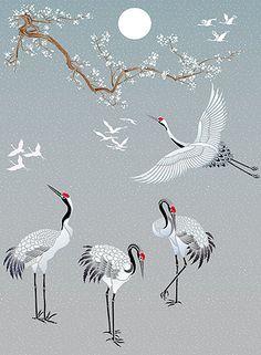 Japanese cranes   embroidery design   inspiration