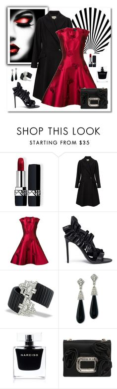 """""""Sachin & Babi Floral Embellished Dress"""" by romaboots-1 ❤ liked on Polyvore featuring Christian Dior, Somerset by Alice Temperley, Sachin + Babi, MSGM, Kenneth Jay Lane, Narciso Rodriguez and Roger Vivier"""