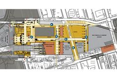Plan of 1st Street level showing new concourses below the tracks and platforms.