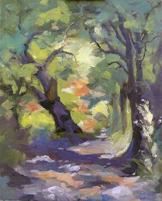 Original oil painting impressionism  Woodland Path par nancyartist, $75,00