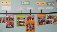 Create a classroom timeline using pictures and events from the school year.