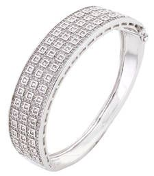 Buy HAPPINESS Collection Sterling Silver Shimmer Studded Imitation Diamond Bracelet For Women bangles-and-bracelet online