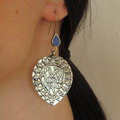 Afghan ethnic earrings, Bohemian jewelry, peacock earrings, lapis lazuli earrings, Vintage Tribal earrings, Kuchi jewelry, Ethnic Jewellry