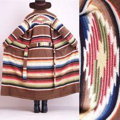 Vtg-RALPH-LAUREN-RAINBOW-Navajo-Indian-Cardi-BLANKET-Jacket-Jumper-Sweater-COAT