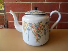 French Provincial Teapot Enamel Hand Painted Flower Vintage Kettle House   eBay