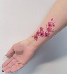 26 Sophisticated Cherry Blossom Tattoo Designs – foot tattoos for women flowers Pink Flower Tattoos, Tattoos For Women Flowers, Wrist Tattoos For Women, Small Wrist Tattoos, Tattoos For Women Small, Calf Tattoos For Women Back Of, Cherry Tree Tattoos, Sunflower Tattoos, Cherry Blossom Tattoos