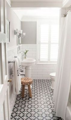 Patterned tiles take centerstage in this bathroom remodel—and we wouldn't have it be any other way! When paired with classic subway tiles, this geometric design gives a sophisticated and unique feel to your space.