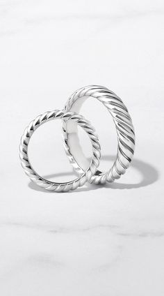 DY Unity Cable Wedding Bands in Platinum.