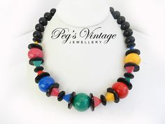 Colorful Vintage Lucite Necklace//Black, Green, Pink, Yellow, Red, Blue Unique Shaped Bead Choker