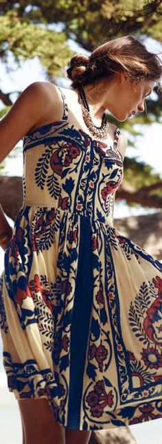Stylish Printed Dress & Skirt Look