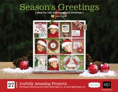 Season's Greetings free E-Book. Fall, Halloween, and Christmas projects featuring products from Echo Park Paper co. and Carta Bella