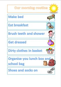 A Simple morning and night routine chart for the kids.