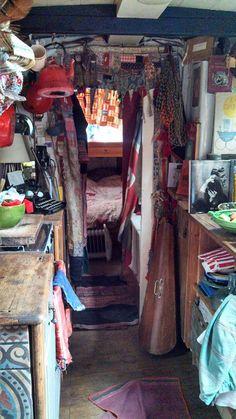 Full - old wood, tiles, fabrics, hanging things Sailboat Living, Living On A Boat, Tiny Living, Future House, My House, Canal Boat Interior, Narrowboat Interiors, Caravan Renovation, Van Home
