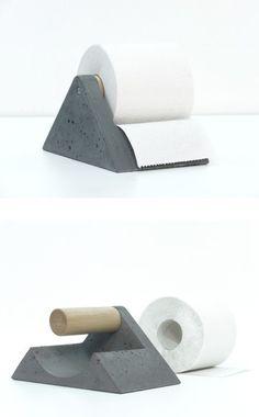 Toilet paper holder | Concrete product design | Concrete | Interior | Inspiration | design | Beton design | Betonlook | http://www.forbo.com/eurocol/en-nl/products/pr59rj#panel_13