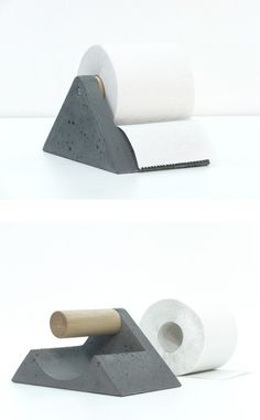 Concrete toilet paper holder!