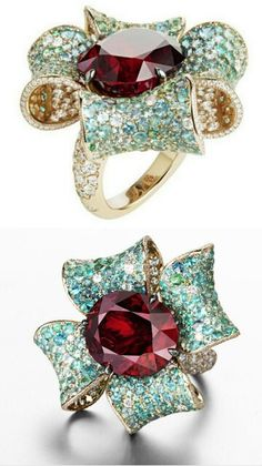 Suzanne Syz 'Lucy in the Sky' ring  – red spinel, Paraiba tourmaline and diamond set in rose gold.
