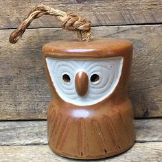 Earthenware Owl Bell rustic natural style