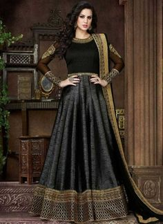 Black Embroidery Sequin Work Silk Long Anarkali Suit  http://www.angelnx.com/Salwar-Kameez